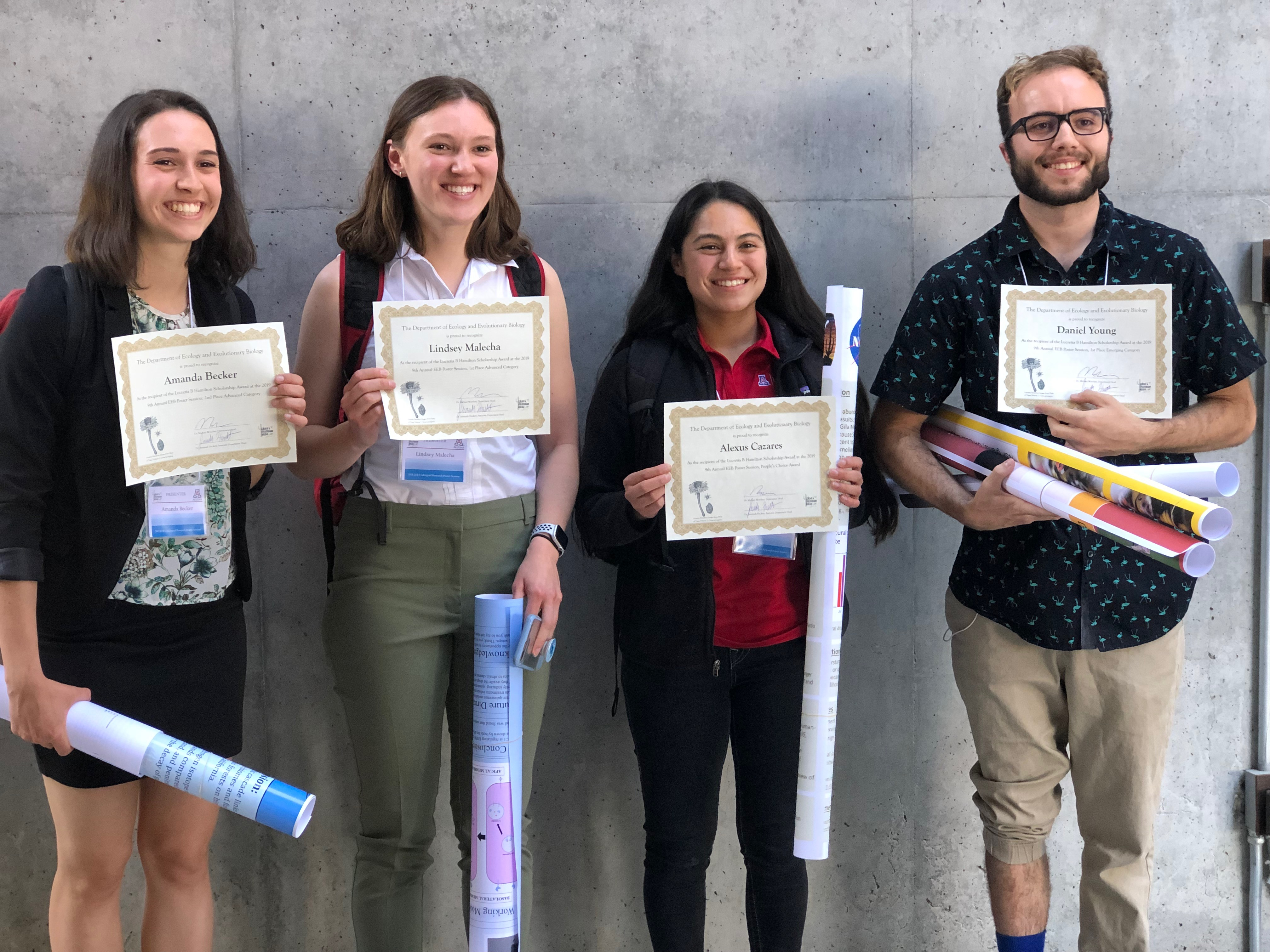 Poster Session 2019 winners and awardees of Lucretia B Hamilton scholarship